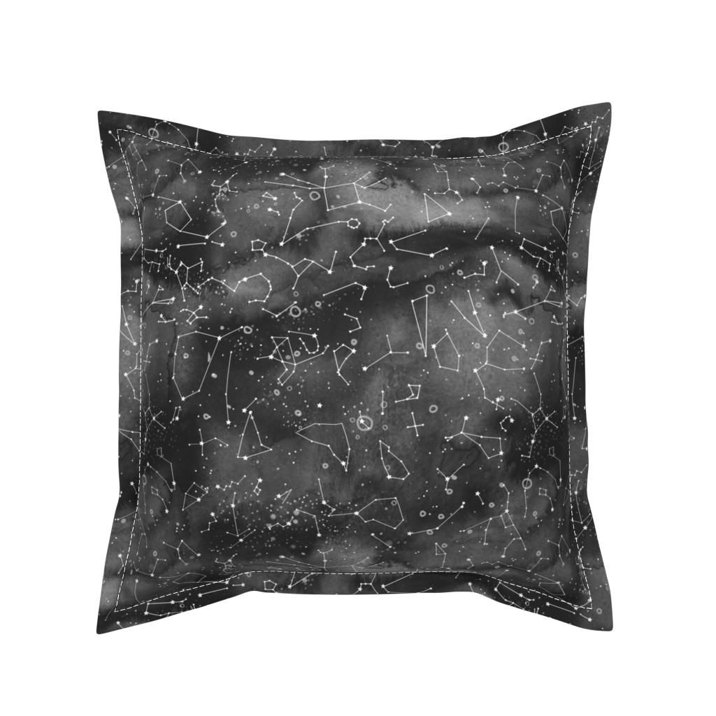Serama Throw Pillow featuring Constellations -black watercolour background by emeryallardsmith