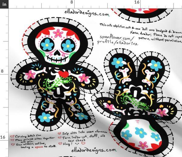 0619de076e07 Cute Dia de los Muertos Cut   Sew Doll - Spoonflower