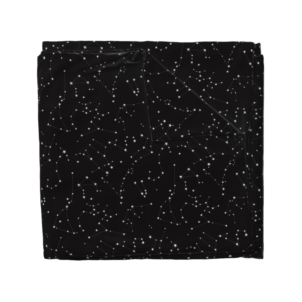 Wyandotte Duvet Cover featuring stars in the zodiac constellations on black by eleventy-five
