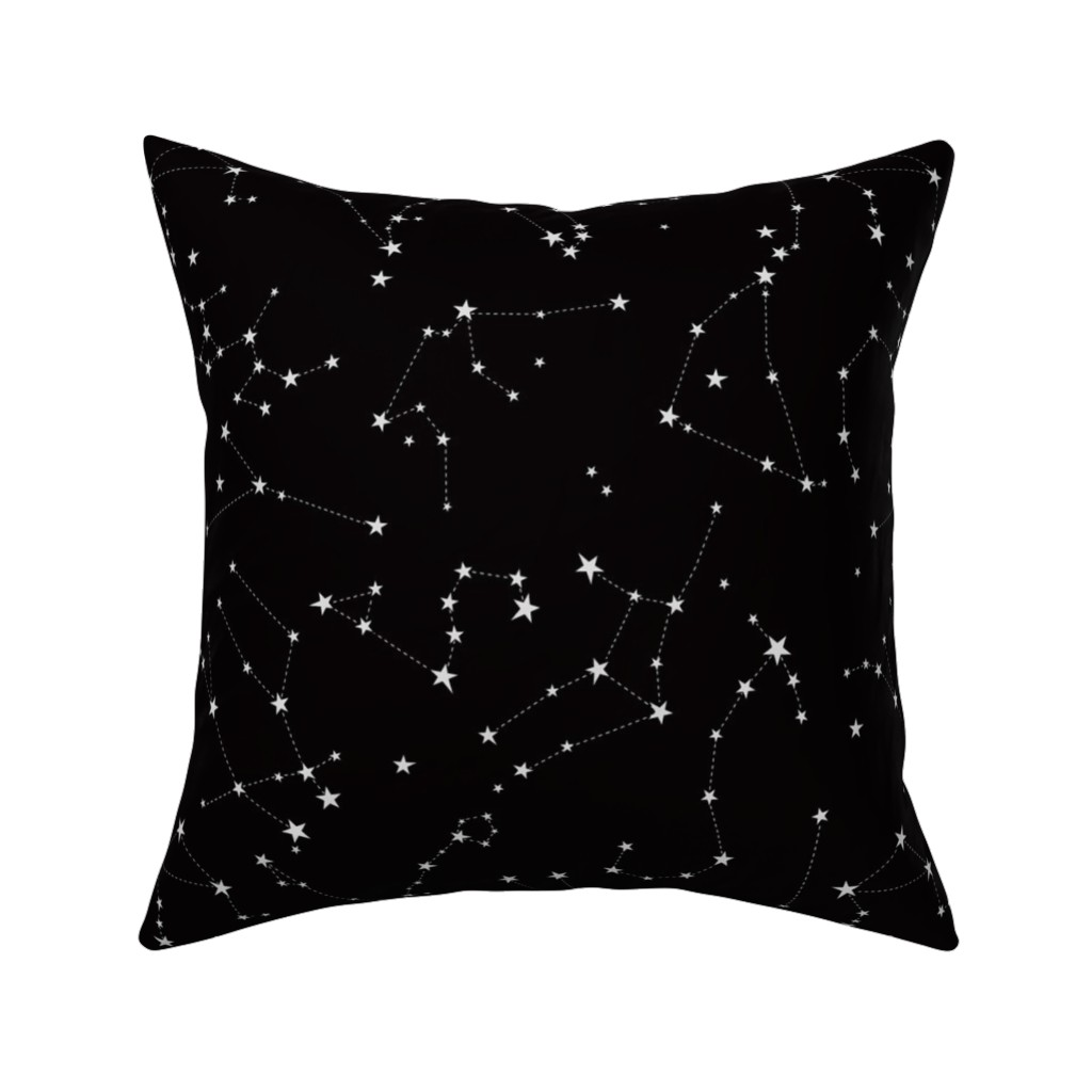 Catalan Throw Pillow featuring stars in the zodiac constellations on black by eleventy-five