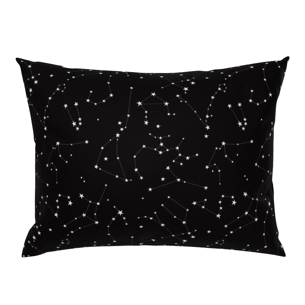 Campine Pillow Sham featuring stars in the zodiac constellations on black by eleventy-five