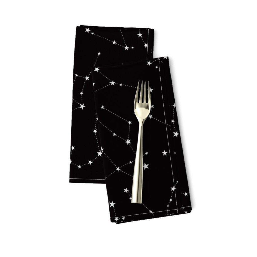 Amarela Dinner Napkins featuring stars in the zodiac constellations on black by eleventy-five