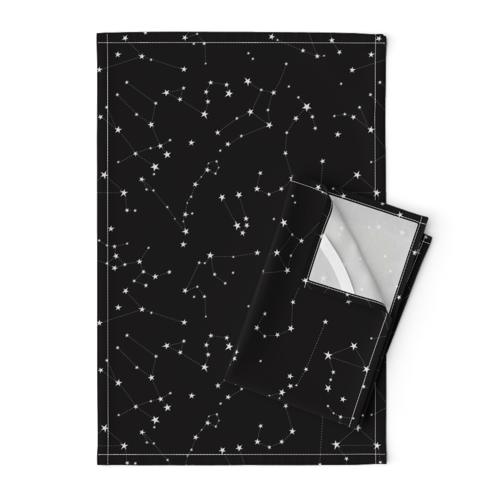 Orpington Tea Towels featuring stars in the zodiac constellations on black by eleventy-five