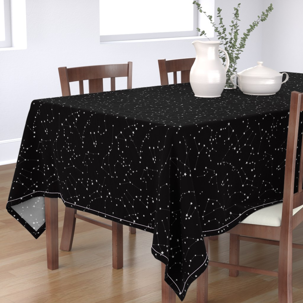 Bantam Rectangular Tablecloth featuring stars in the zodiac constellations on black by eleventy-five