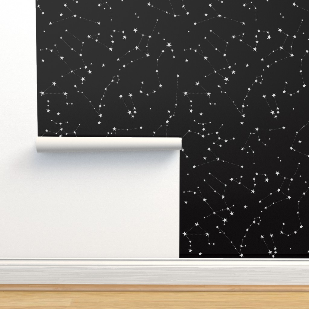 Isobar Durable Wallpaper featuring stars in the zodiac constellations on black by eleventy-five