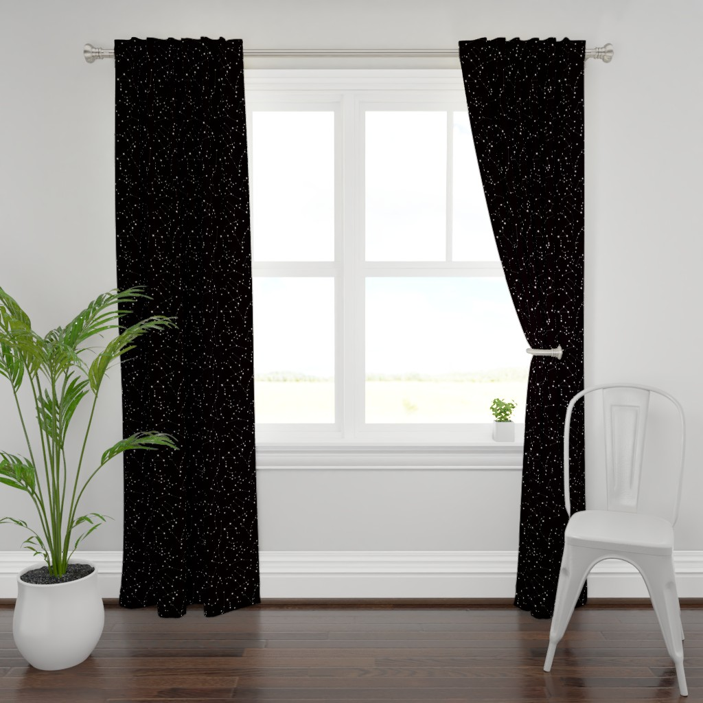 Plymouth Curtain Panel featuring stars in the zodiac constellations on black by eleventy-five