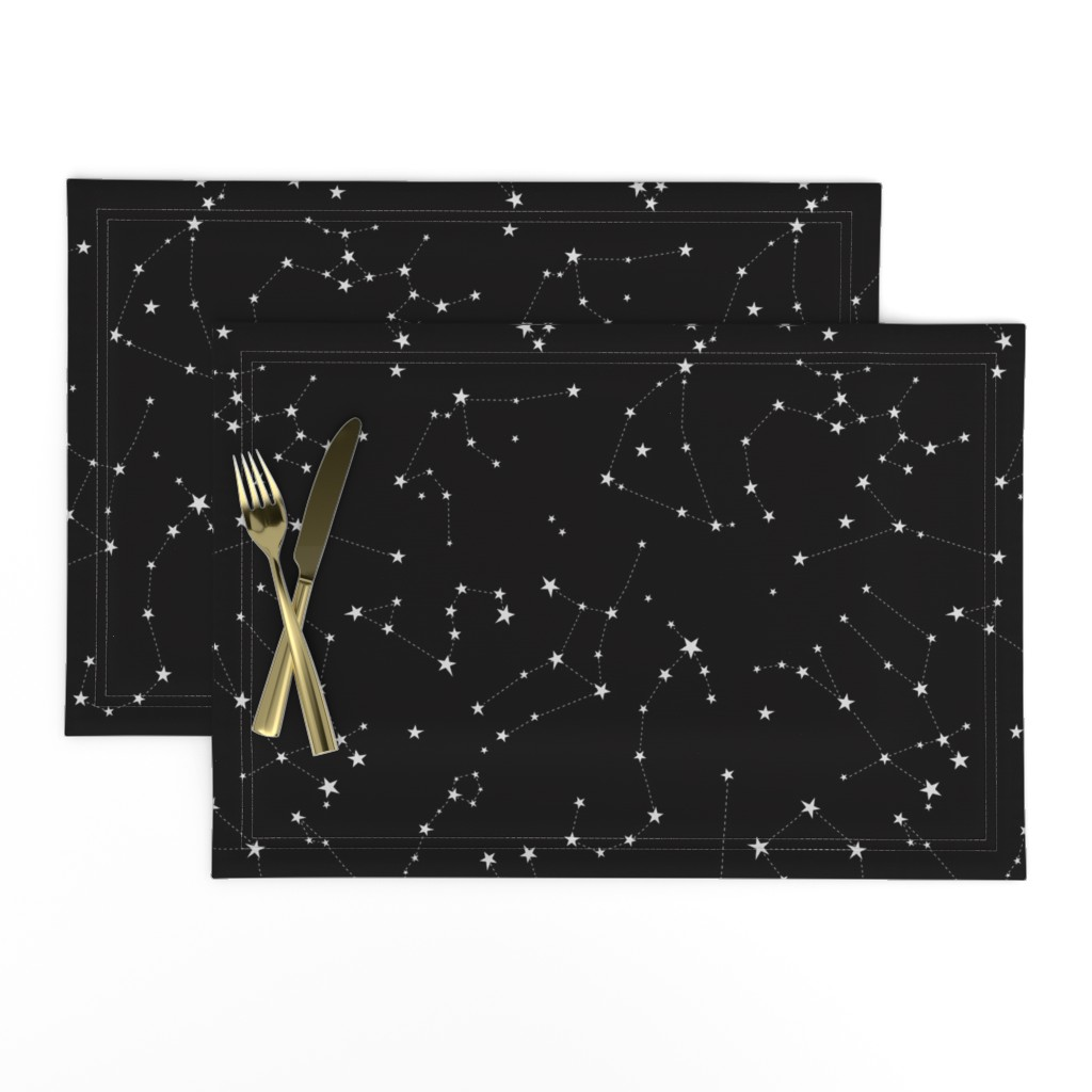Lamona Cloth Placemats featuring stars in the zodiac constellations on black by eleventy-five