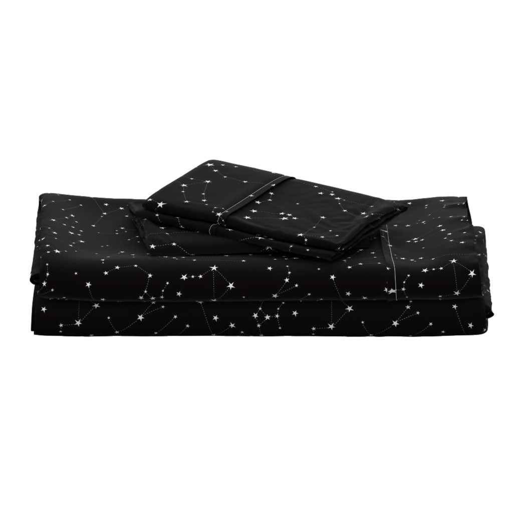 Langshan Full Bed Set featuring stars in the zodiac constellations on black by eleventy-five