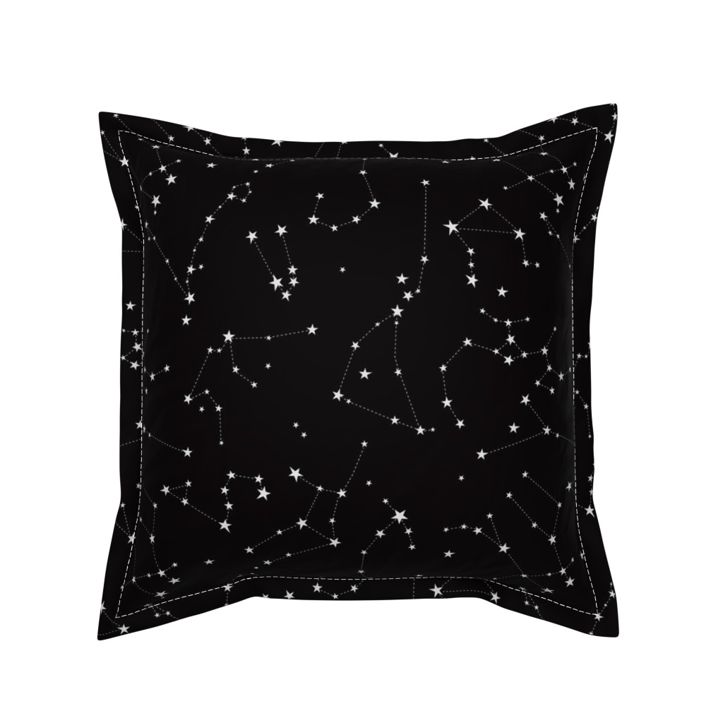 Serama Throw Pillow featuring stars in the zodiac constellations on black by eleventy-five