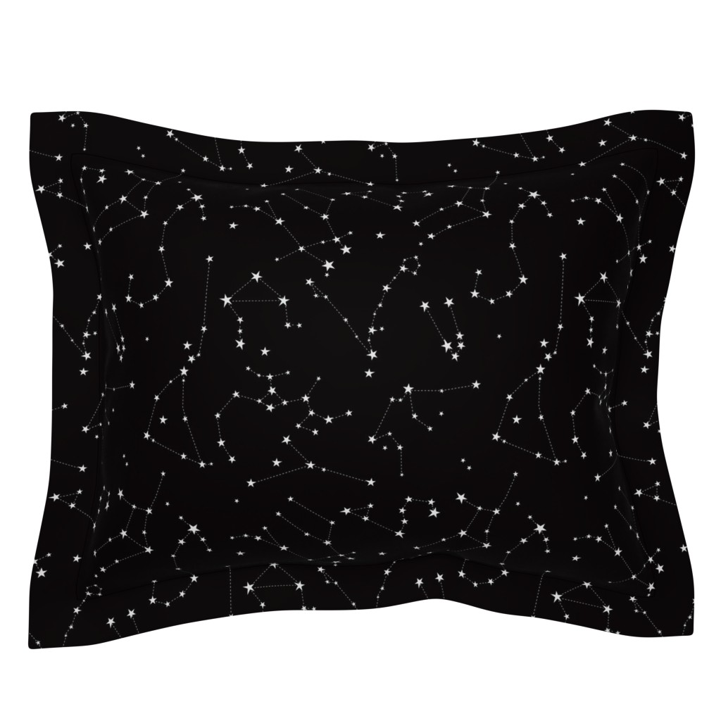 Sebright Pillow Sham featuring stars in the zodiac constellations on black by eleventy-five