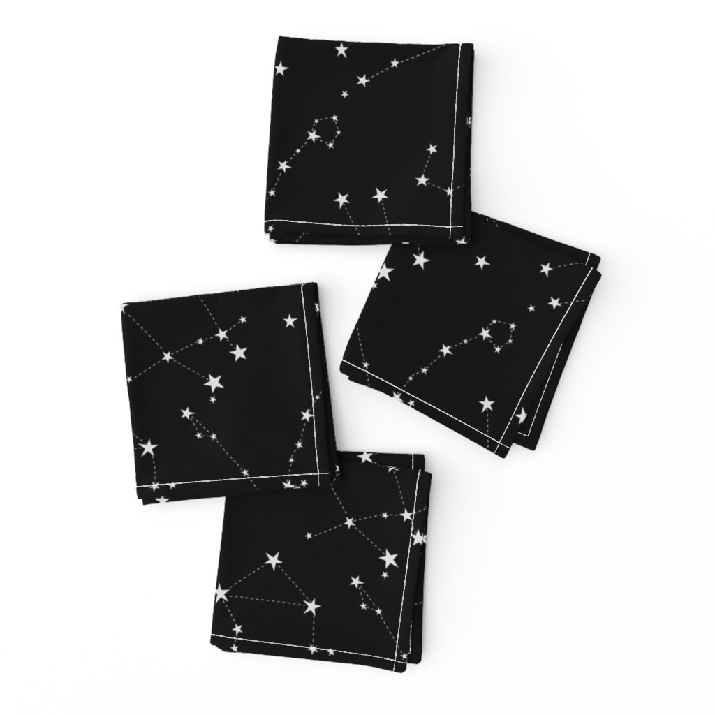 Frizzle Cocktail Napkins featuring stars in the zodiac constellations on black by eleventy-five
