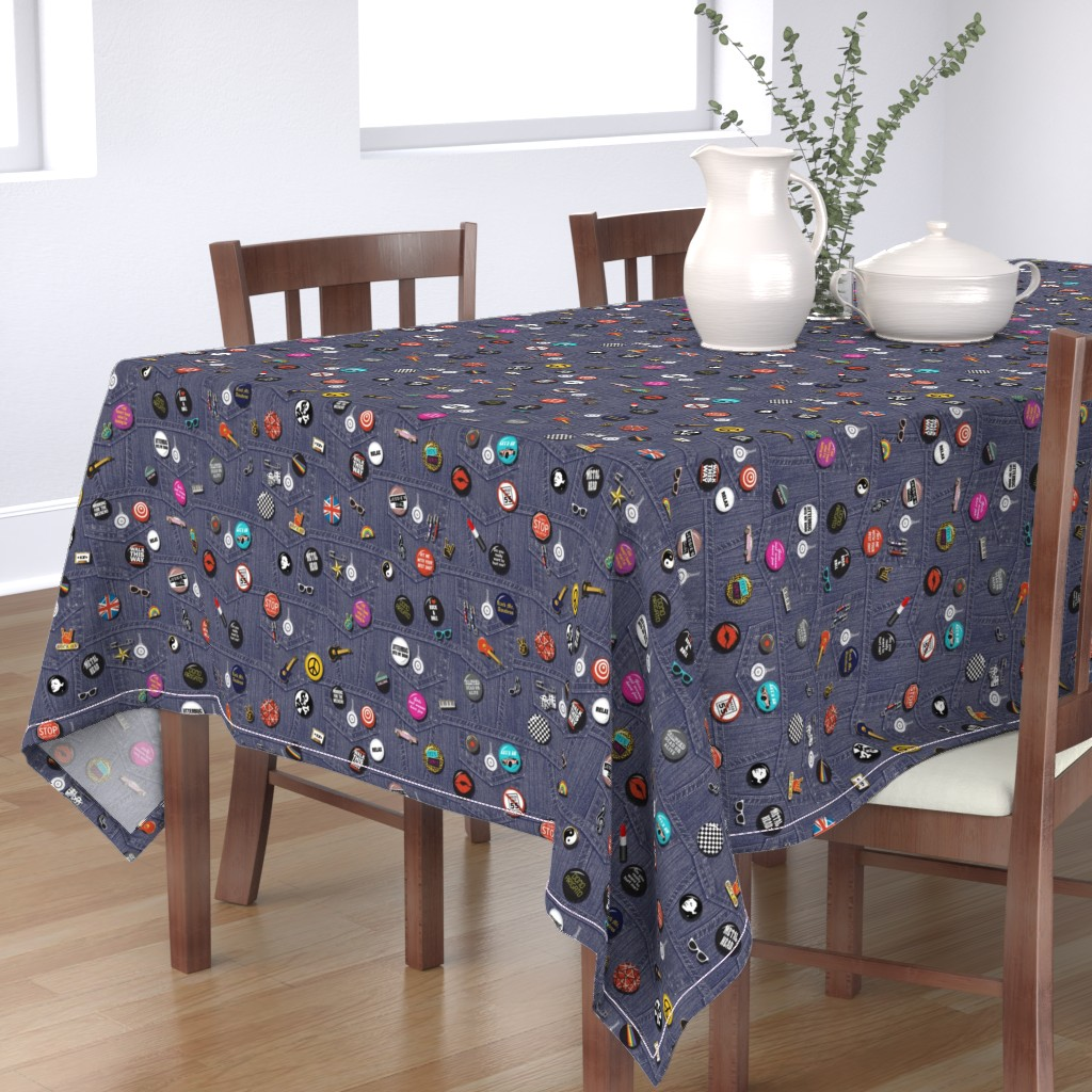 Bantam Rectangular Tablecloth featuring '80s Rock & Roll Flair*    buttons pins pinbacks music retro denim rock and roll band typography words fashion friendship punk emo by pennycandy