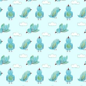 Ikat Birdies - blue