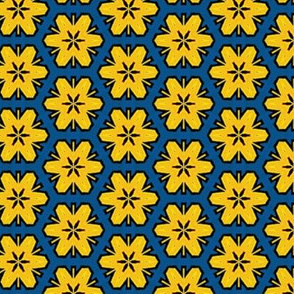 Icelandic Floral in Blue & Yellow