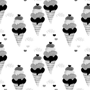 Black and white ice cream cone summer candy love watercolors illustration uni