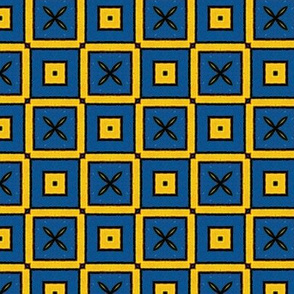Royal Checkers in Blue & Yellow