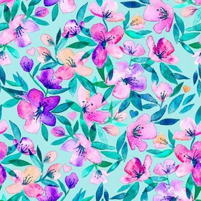 Light blue and purple spring floral - large