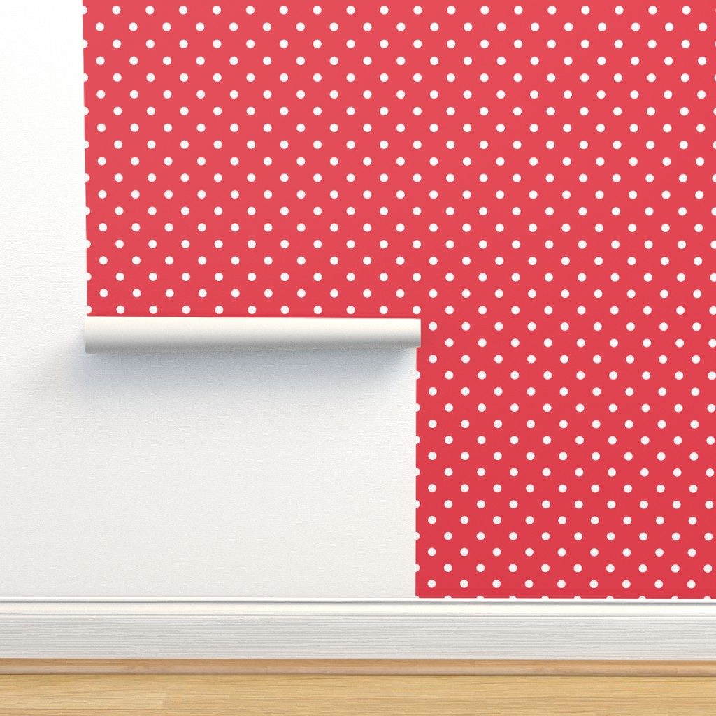 Isobar Durable Wallpaper featuring Coral and White Polka Dots by paper_and_frill