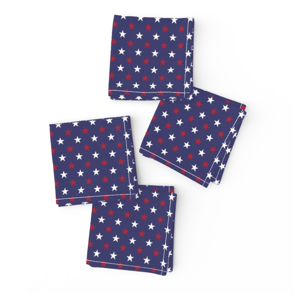 Frizzle Cocktail Napkins featuring USA Flag Red and White Stars on Flag Blue by paper_and_frill