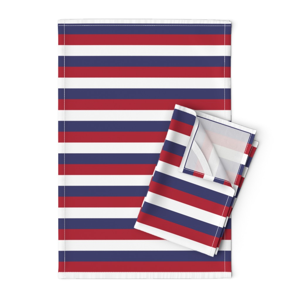 Orpington Tea Towels featuring USA Flag Red, White and Blue Stripes  by paper_and_frill