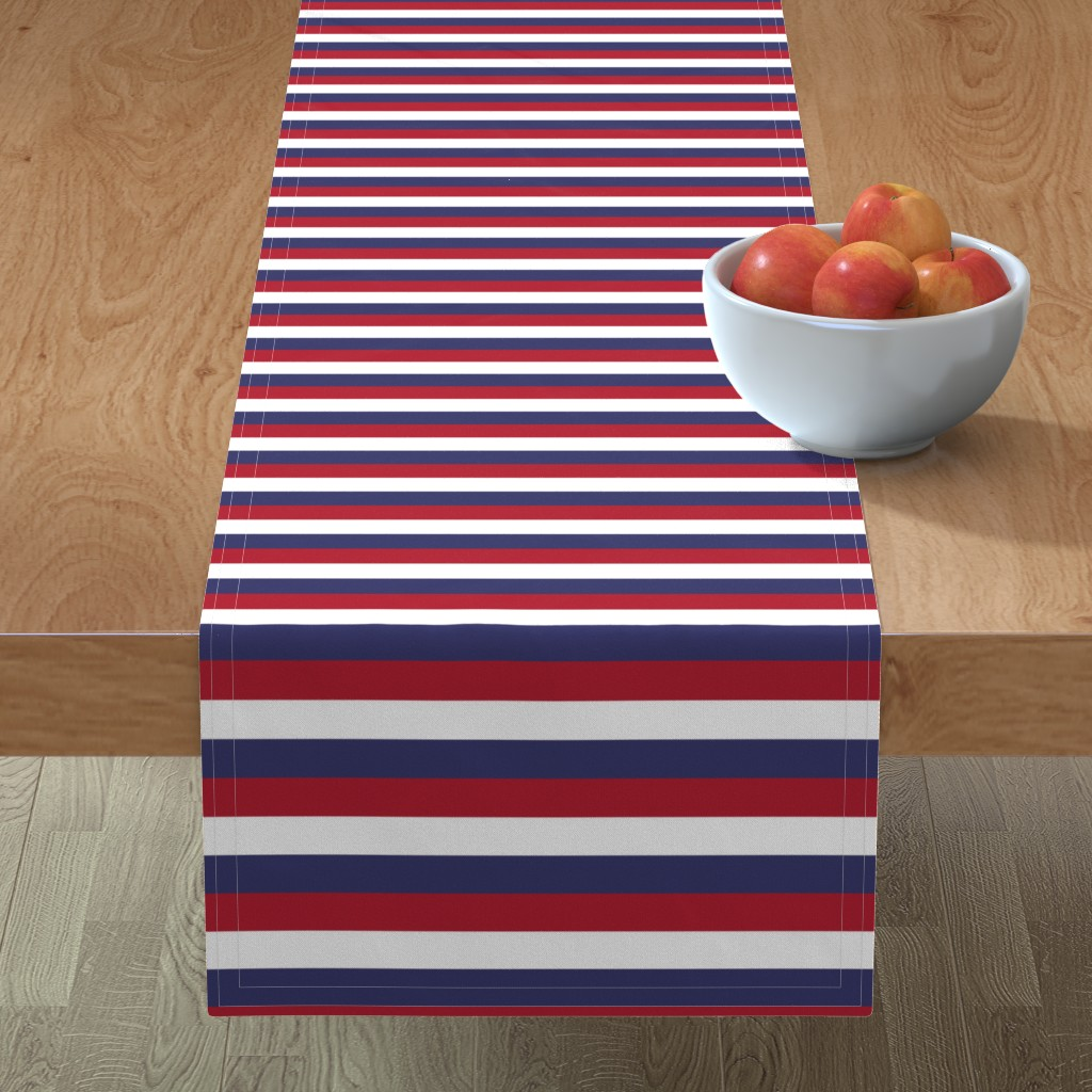 Minorca Table Runner featuring USA Flag Red, White and Blue Stripes  by paper_and_frill