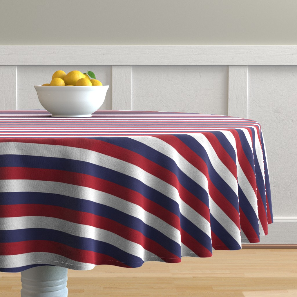 Malay Round Tablecloth featuring USA Flag Red, White and Blue Stripes  by paper_and_frill