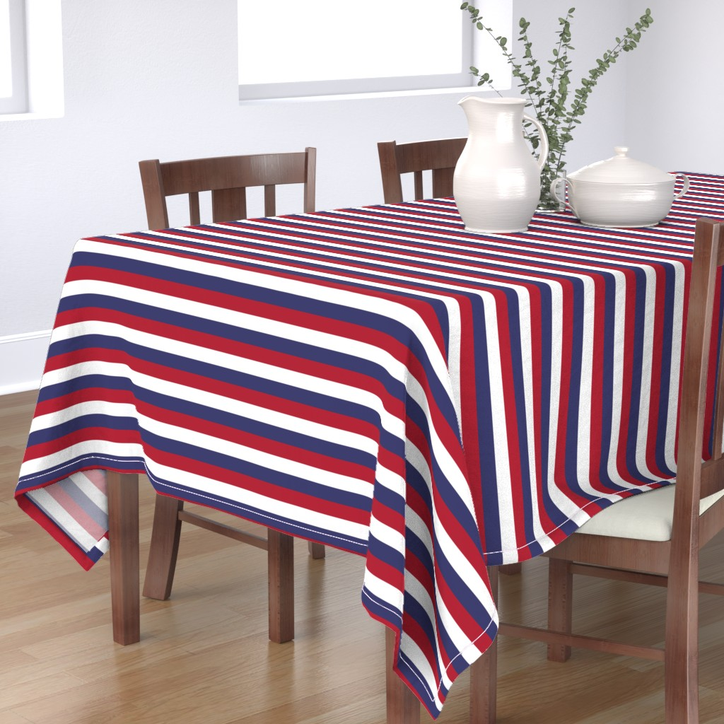 Bantam Rectangular Tablecloth featuring USA Flag Red, White and Blue Stripes  by paper_and_frill