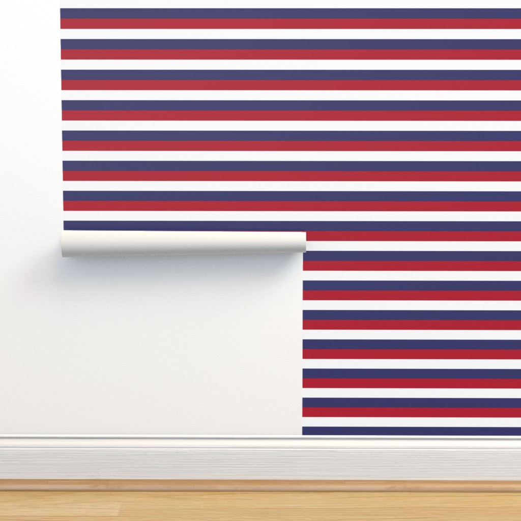 Isobar Durable Wallpaper featuring USA Flag Red, White and Blue Stripes  by paper_and_frill