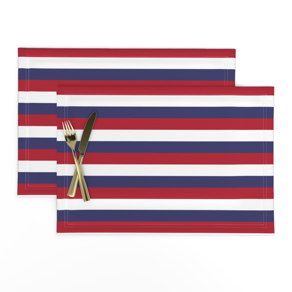 Lamona Cloth Placemats featuring USA Flag Red, White and Blue Stripes  by paper_and_frill