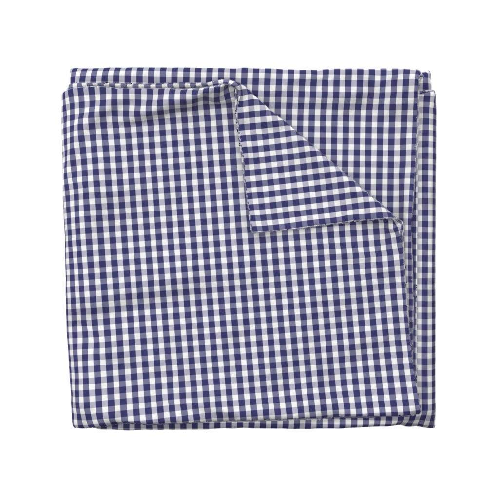 Wyandotte Duvet Cover featuring USA Flag Blue and White Gingham Checks  by paper_and_frill