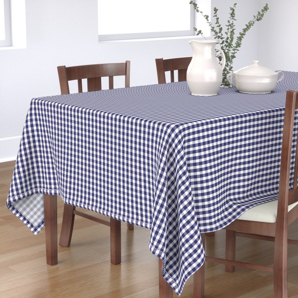 Bantam Rectangular Tablecloth featuring USA Flag Blue and White Gingham Checks  by paper_and_frill