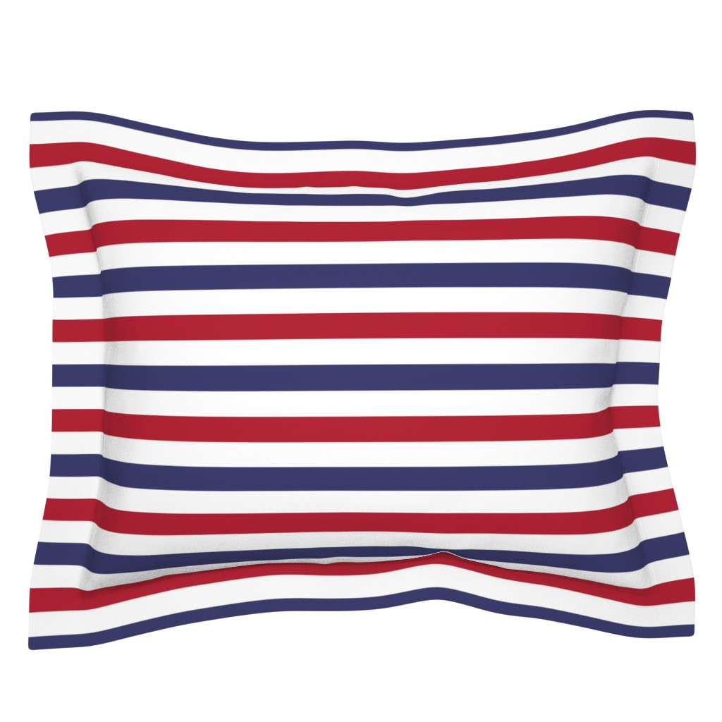 Sebright Pillow Sham featuring Flag Red, White and Blue Alternating Stripes by paper_and_frill