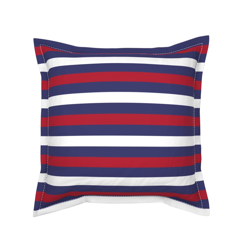 Serama Throw Pillow featuring USA Flag Alternating Blue with Red and White Stripes  by paper_and_frill