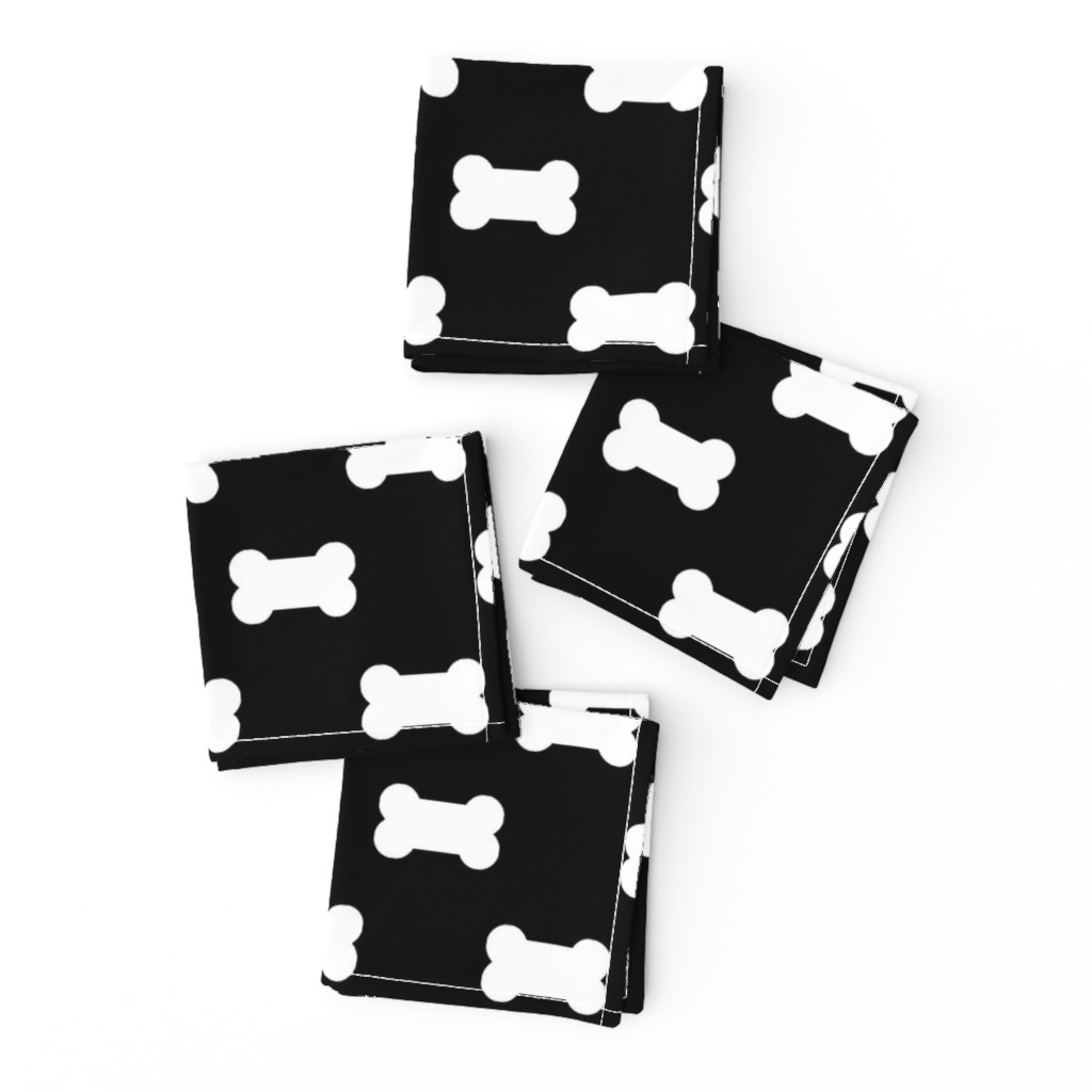 Frizzle Cocktail Napkins featuring Licorice Black with White Dog Bones by paper_and_frill