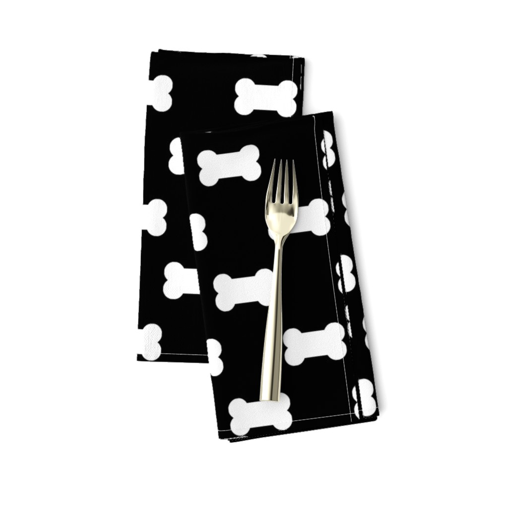 Amarela Dinner Napkins featuring Licorice Black with White Dog Bones by paper_and_frill