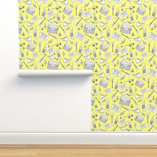 Wallpaper 90s Life 90s Style Illustrations On Fabric Wallpaper Gift Wrap Black And White Illustrations On Yellow
