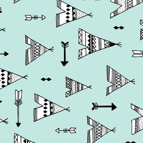 Trendy teepee and indian summer arrow illustration geometric aztec print in mint flipped