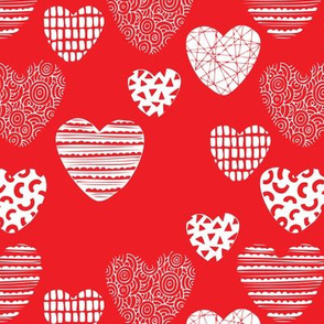 Big love geometric hearts valentine and wedding theme for romantic lovers hot red pink