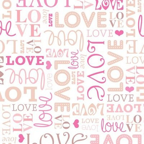 Sweet love text design romantic valentine typography print in white pink and red