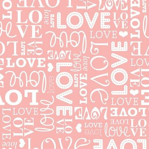 Sweet love text design romantic valentine typography print in white and soft pink