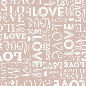 Sweet love text design romantic valentine typography print in white and soft beige gender neutral