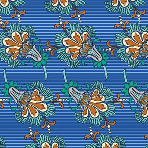 Italian Flowers Teal Green Cream Royal Blue Burnt Orange Pinstripe Floral _ Miss Chiff Designs