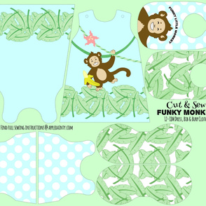 Funky Monkey Dress, Burp Cloth and Bib - Blue
