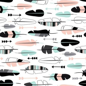 Geometric vintage feathers pastel arrows in mint and coral illustration pattern flipped