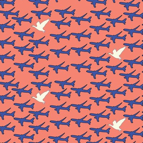 16-07a Geese and 767 airplanes on coral_Miss Chiff Designs
