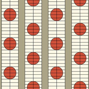 16-16AW Modern Shoji Screen || Taupe Cream Red Orange Brown Japan Japanese Circle Spots Dots _ Miss Chiff Designs