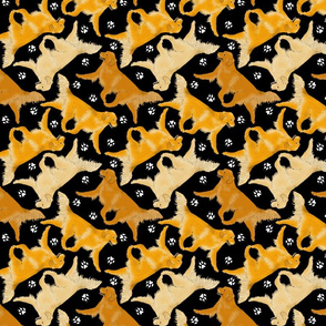 Trotting Golden Retrievers and paw prints - black