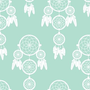 Dreamy dreamcatcher indian boho gypsy summer feathers design pastel mint gender neutral