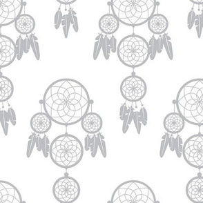 Dreamy dreamcatcher indian boho gypsy summer feathers design pastel gray gender neutral