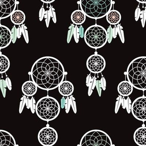 Dreamy dreamcatcher indian boho gypsy summer feathers design pastel black white and mint gender neutral